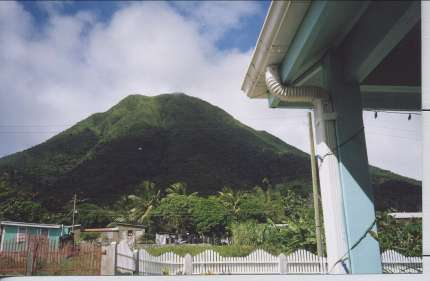 Gingerland Hill - View of Nevis Peak from the porch
